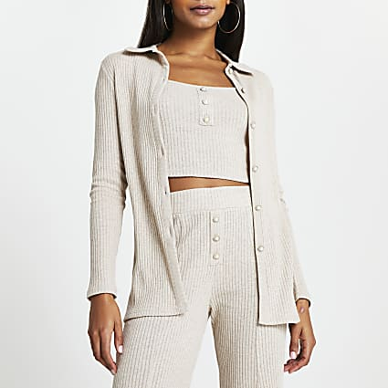 Beige ribbed button front cardigan