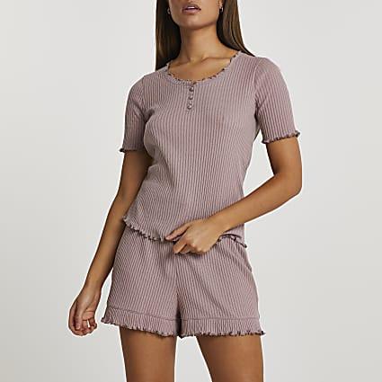 Beige ribbed frim hem pyjama set