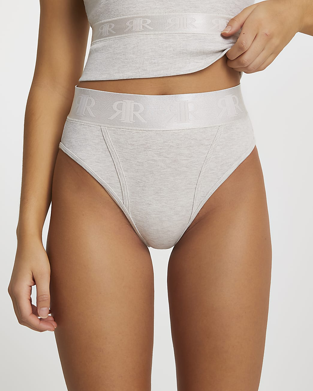 Beige ribbed knickers