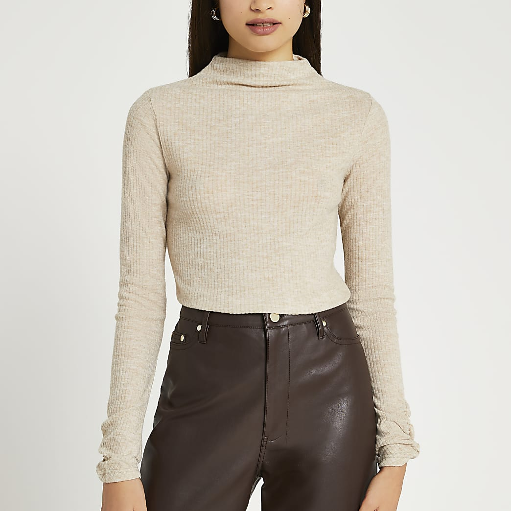 Beige ribbed long sleeve high neck top