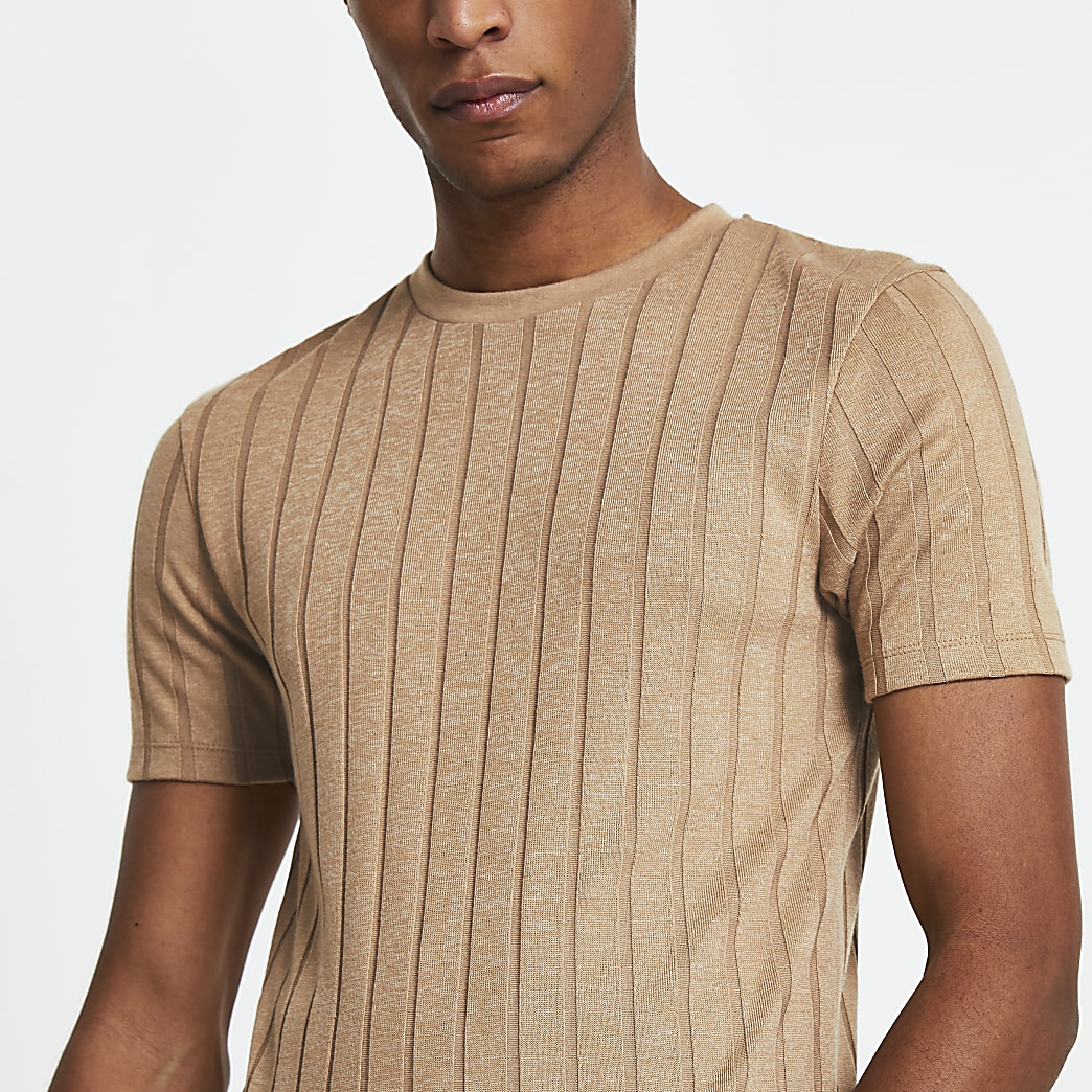 Beige ribbed muscle fit t-shirt