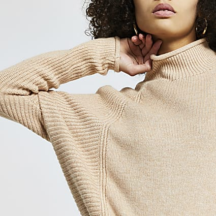 Beige ribbed panel RI jumper