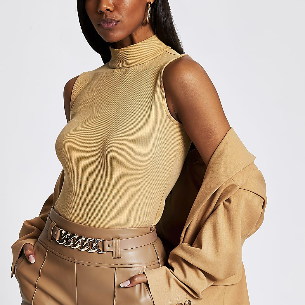 Beige ribbed turtle neck bodysuit