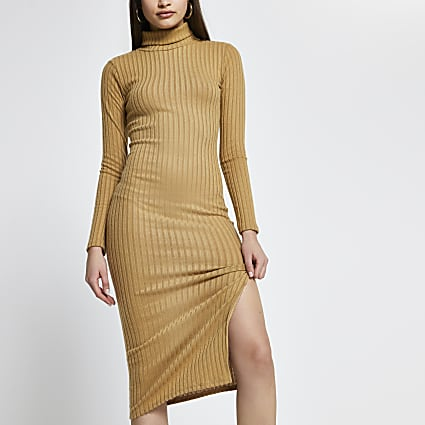 Beige ribbed turtle neck midi dress