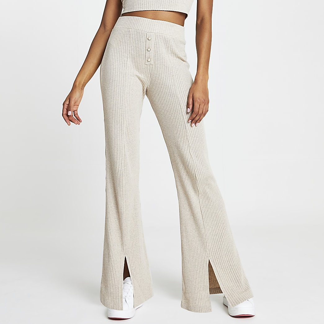 Beige ribbed wide leg split front trousers