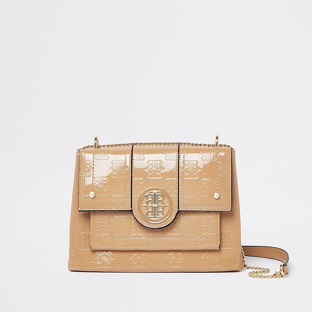 Beige RIR embossed satchel bag