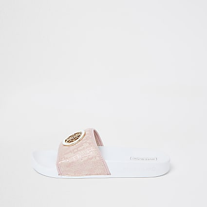 Beige 'RIR' monogram sliders
