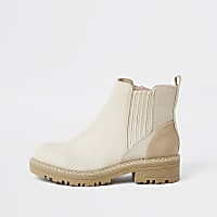 Beige round toe chelsea boots