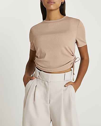 Beige ruched short sleeve t-shirt