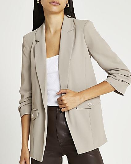 Beige ruched sleeve blazer
