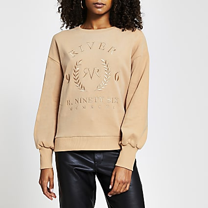 Beige 'RVR' long sleeve sweatshirt
