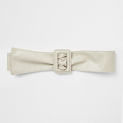 Beige sash square buckle belt