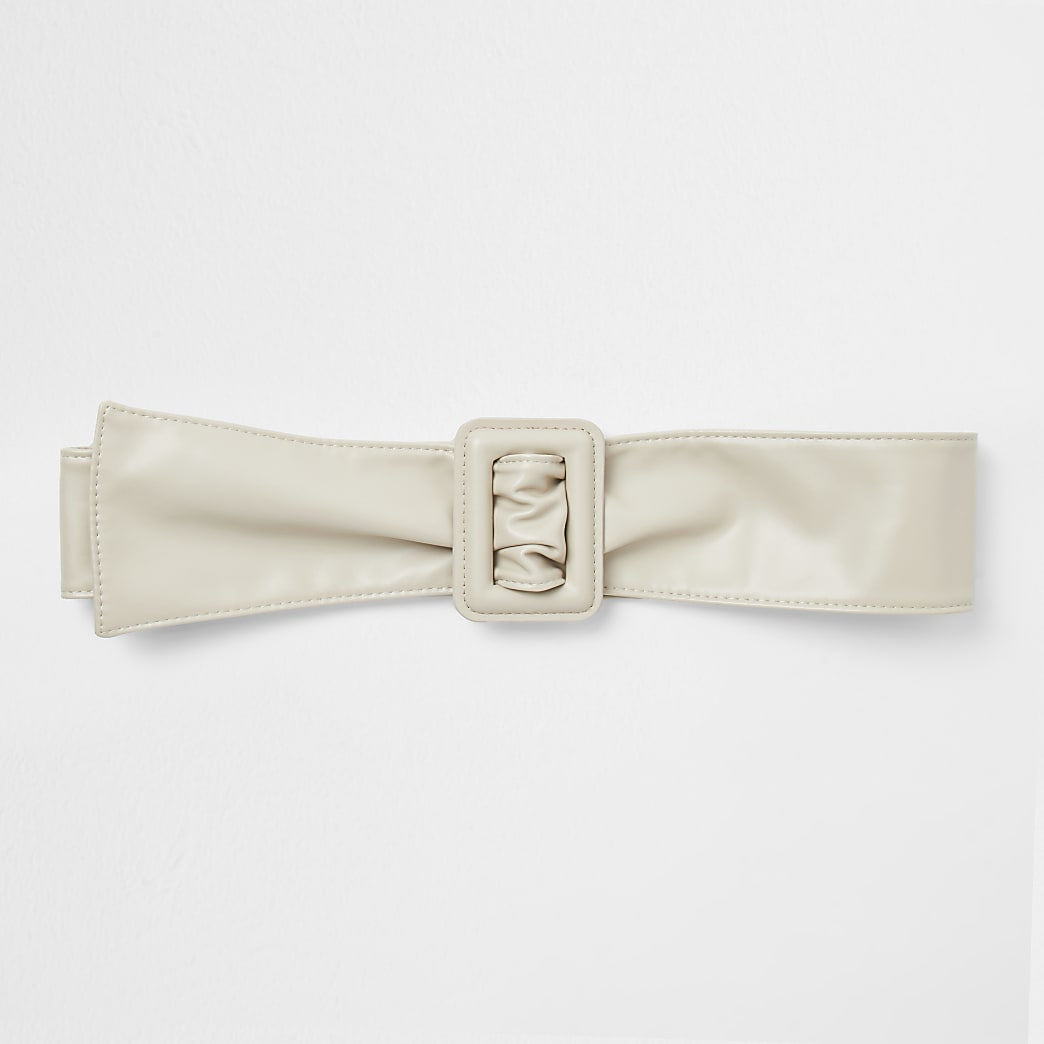 Beige sash square buckle belt