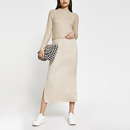 Beige satin Long Sleeve Midi Jumper dress