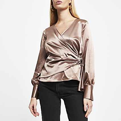Beige Satin Long Sleeve Wrap Blouse