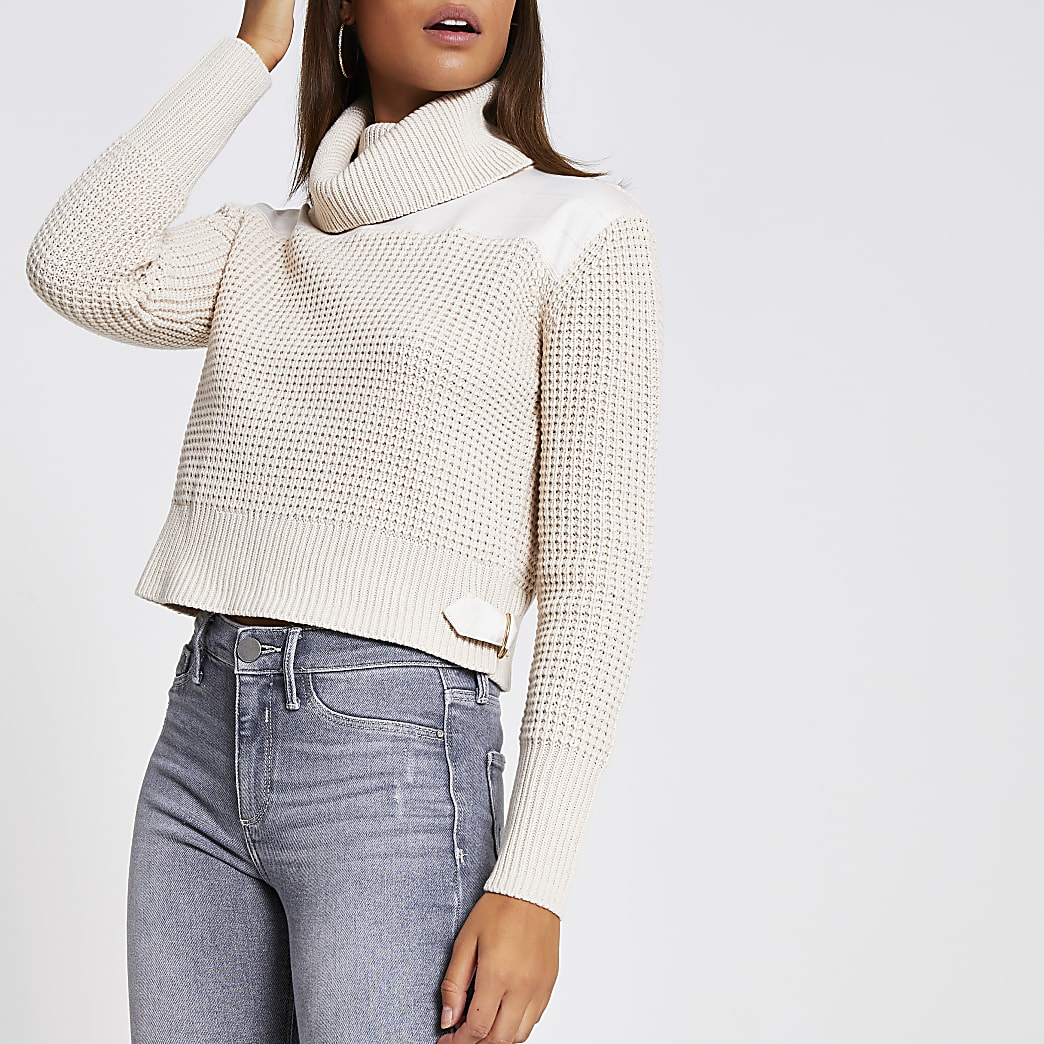 Beige satin roll neck knitted cropped jumper