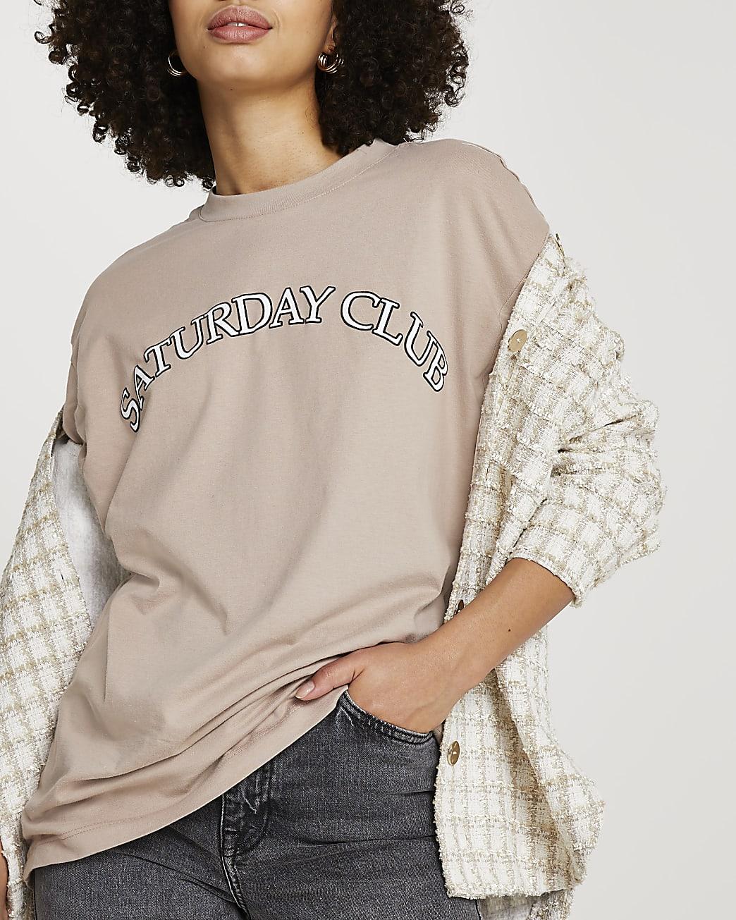 Beige 'Saturday Club' oversized t-shirt