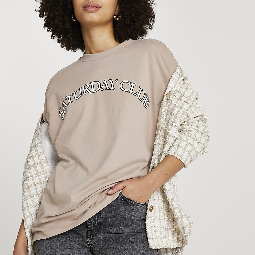 Beige 'Saturday Club' oversized t-shirt