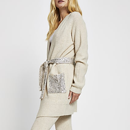 Beige sequin cable knit belted cardigan