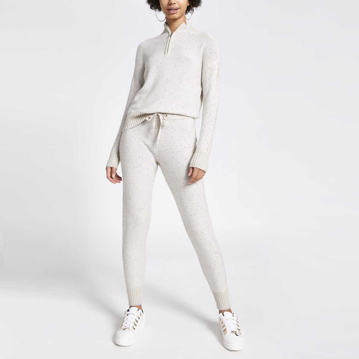 Beige sequin embellished knitted joggers