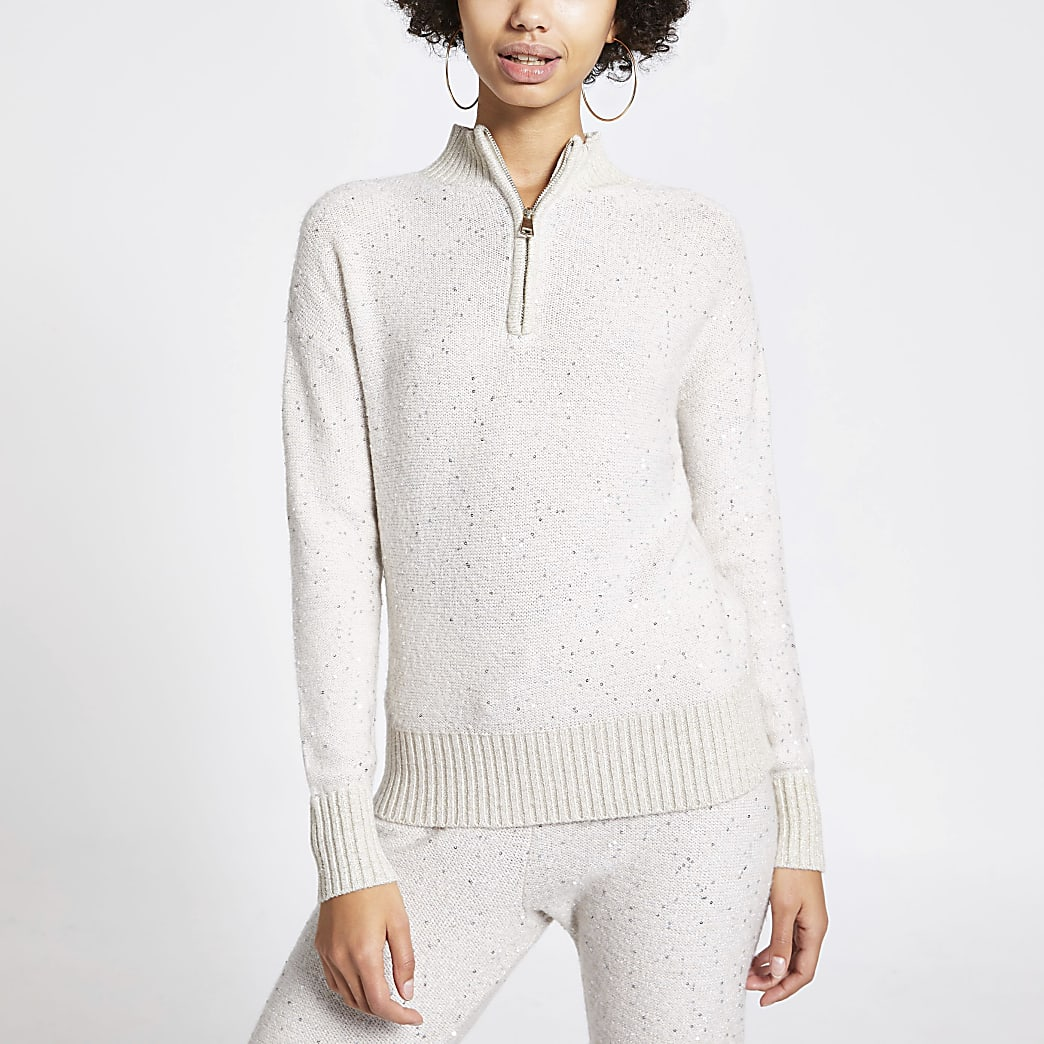 Beige sequin half zip knitted jumper