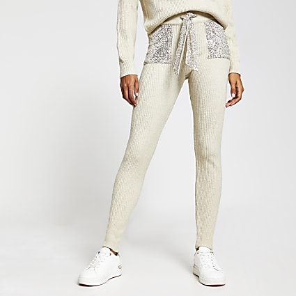 Beige sequin knitted joggers