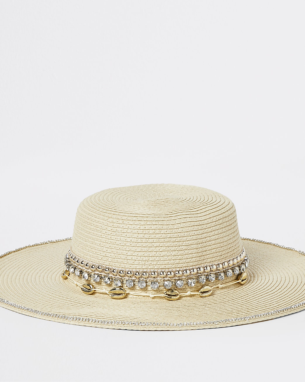 Beige shell and diamond embellished straw hat