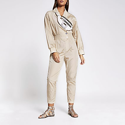 Beige shirred waist boiler jumpsuit