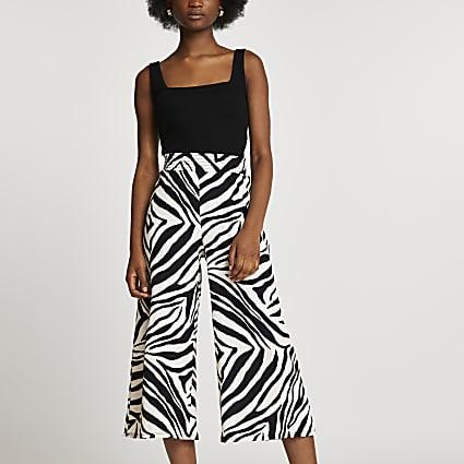 Beige shirred waist zebra print culottes