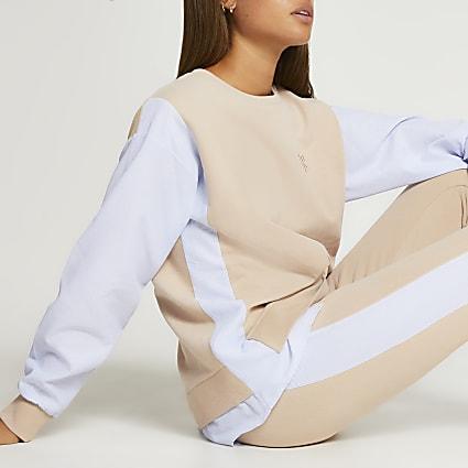 Beige shirt sleeve sweatshirt
