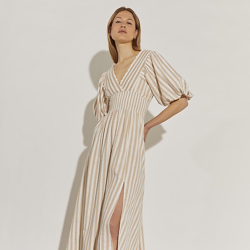 Beige short puff sleeve stripe maxi dress