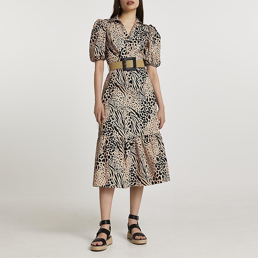 Beige short sleeve animal shirt midi dress