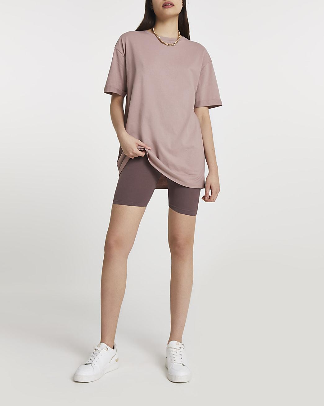 Beige short sleeve boyfriend t-shirt