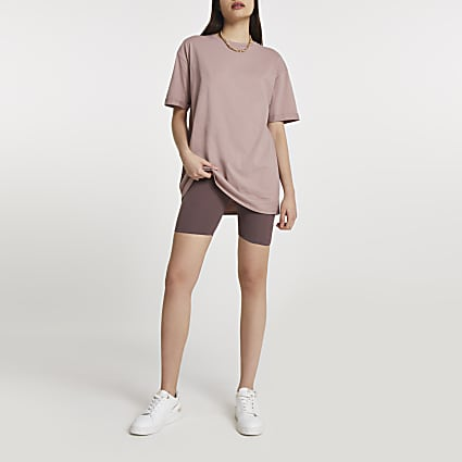 Beige short sleeve boyfriend t-shirt