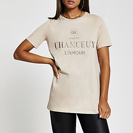 Beige short sleeve 'Chanceux' t-shirt
