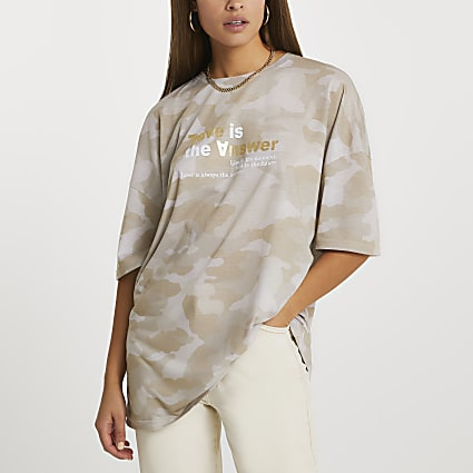 Beige short sleeve 'Love' camouflage t-shirt