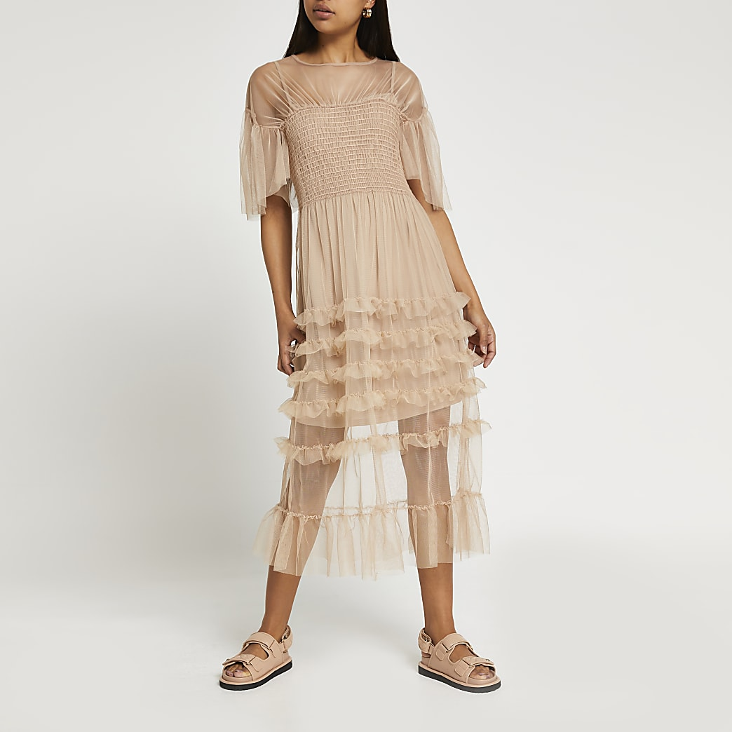 Beige short sleeve mesh ruffle midi dress