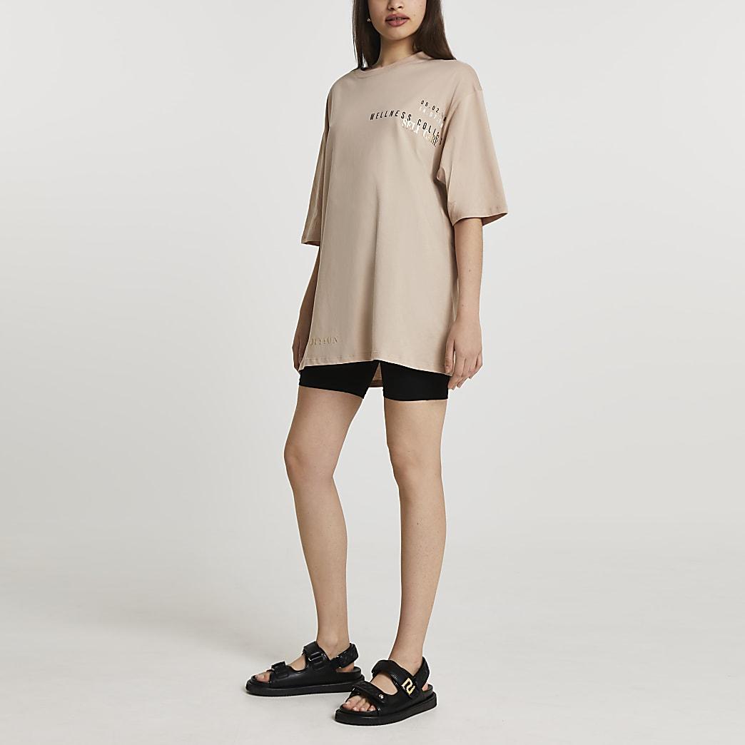 Beige short sleeve oversize t-shirt