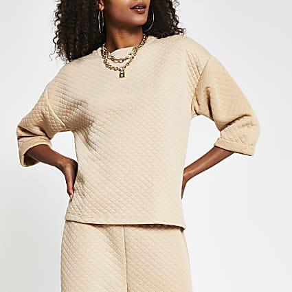Beige short sleeve quilted sweatshirt