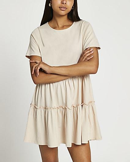 Beige short sleeve t-shirt smock dress