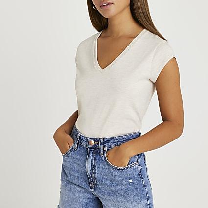 Beige short sleeve v-neck t-shirt