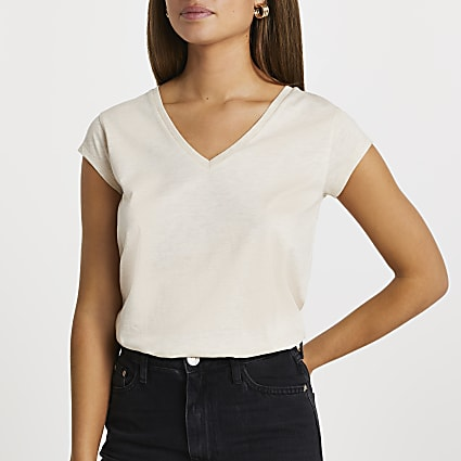 Beige short sleeve V neck t-shirt