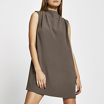 Beige sleeveless drape neck shift mini dress