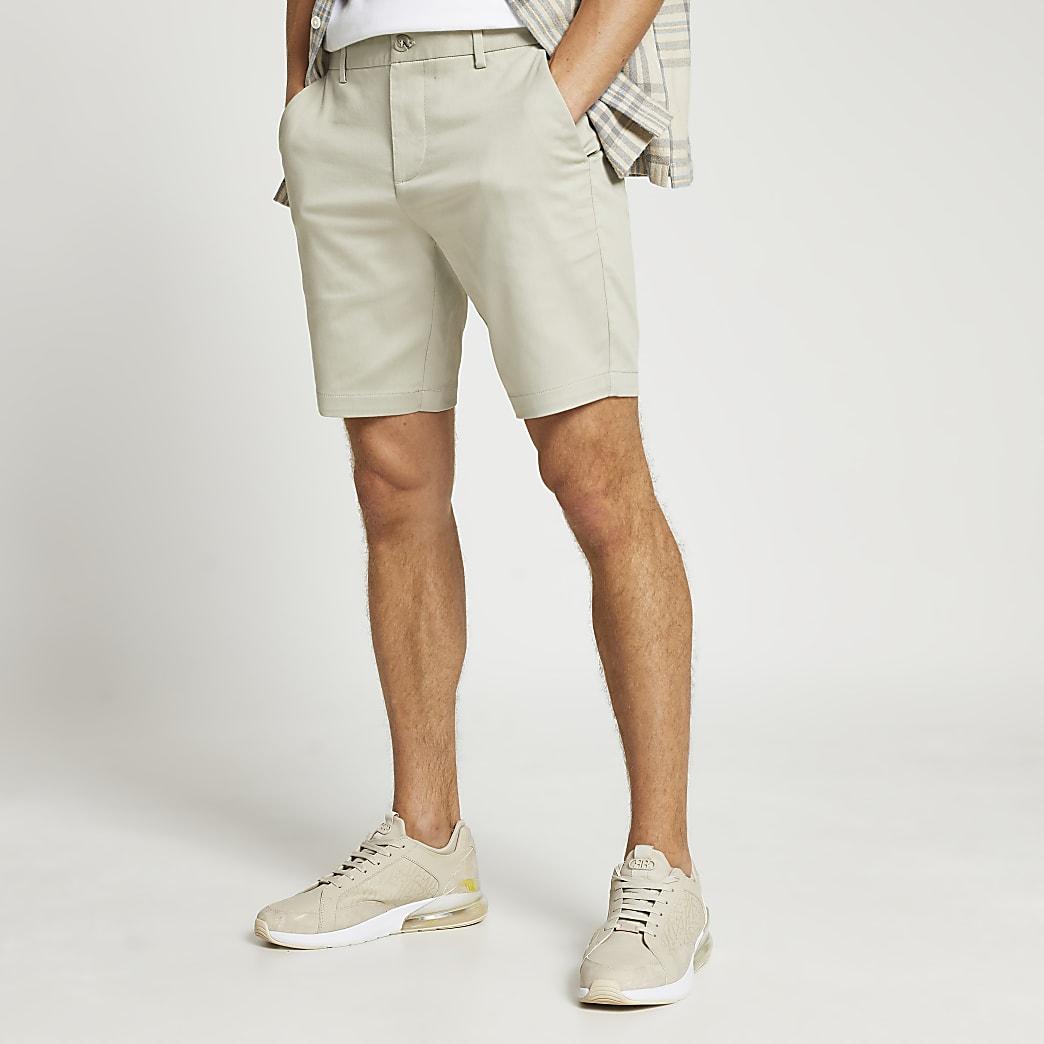 Beige slim fit chino shorts