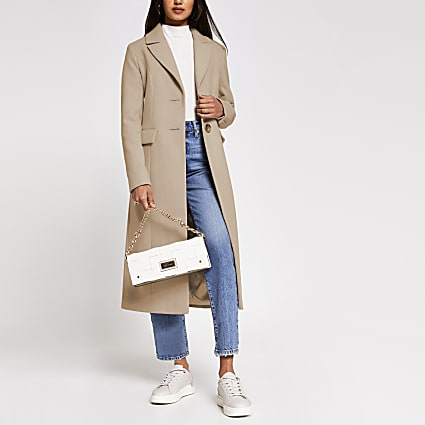 Beige slim fit longline coat