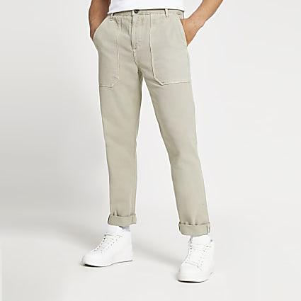 Beige slim fit work trousers