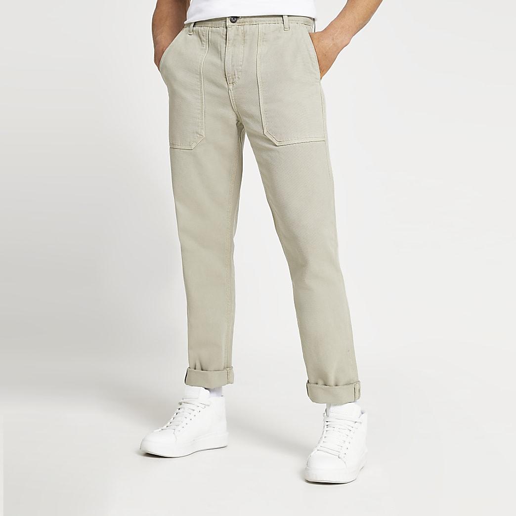 Beige slim fit worker trousers