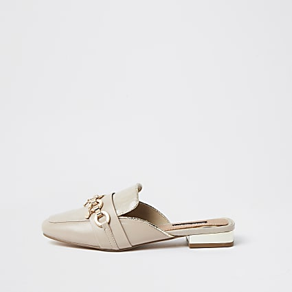 Beige snaffle backless loafer