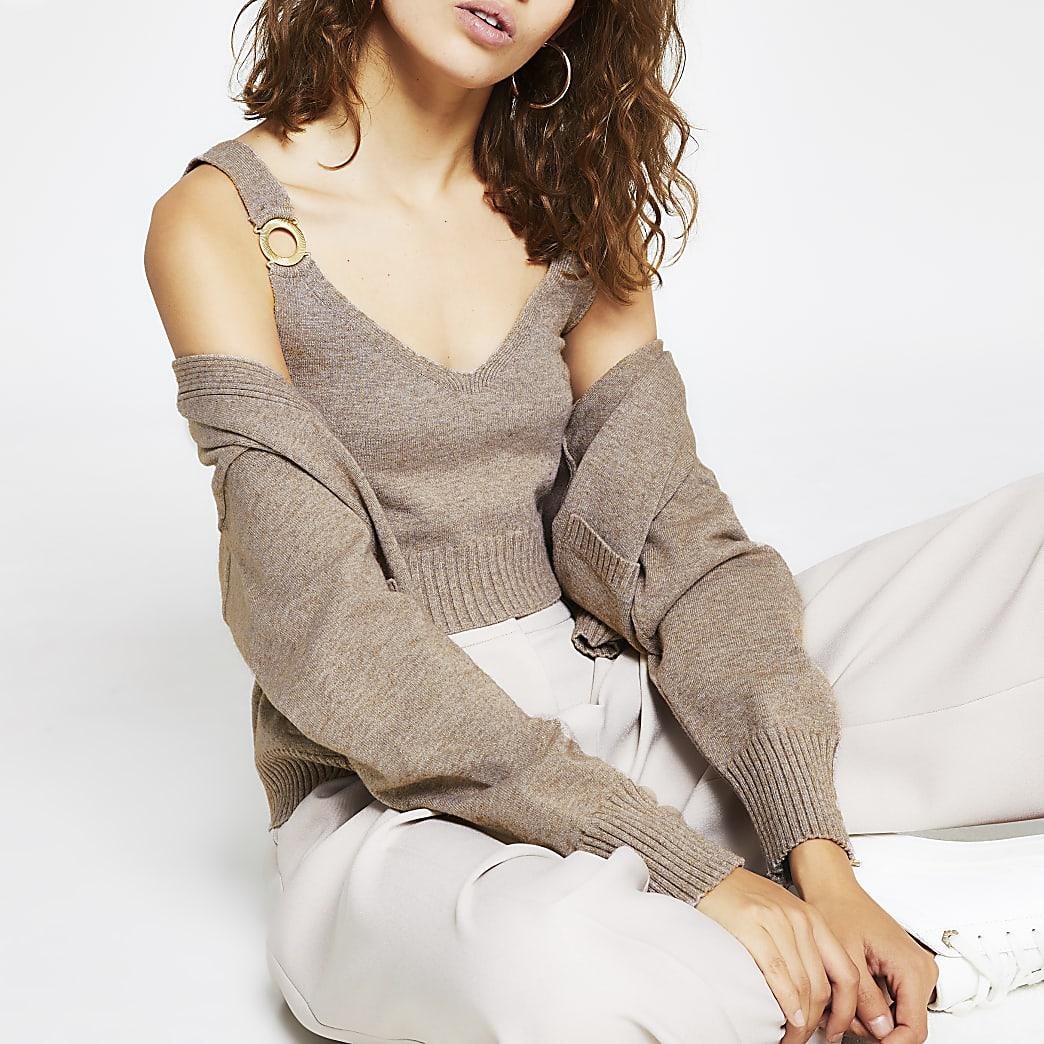 Beige snaffle detail knitted crop top