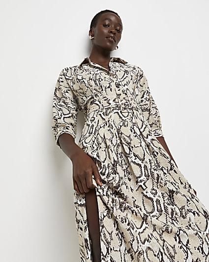 Beige snake print belted midi dress